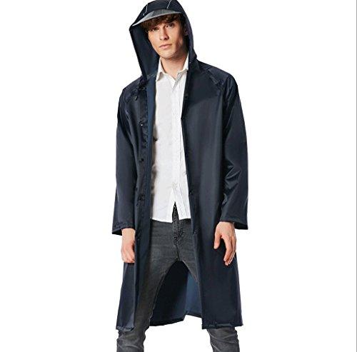 Zcx Raincoat adult universal long raincoat ladies lengthen outdoor waterproof raincoat men's hiking raincoat couple raincoat (Color : Black, Size : L)