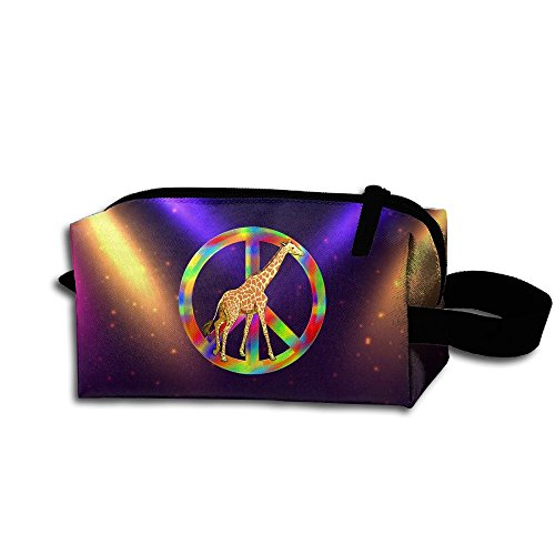 Giraffe Peace Sign Tie Dye Travel Cosmetic Bag Portable Organizer Multifuncition (Giraffe Peace Sign)