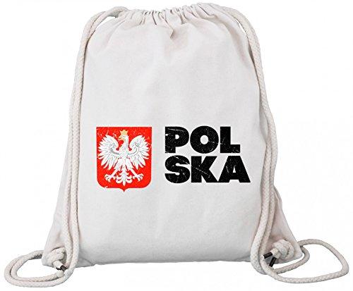 ShirtStreet Wappen Polska Poland Warschau Länder Premium Bio Baumwoll Turnbeutel Rucksack Stanley Stella Flagge Polen 2 Natural 7lzC5ELMD