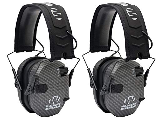 Walkers Razor Slim Electronic Shooting Muffs 2-Pack Bundle, Carbon Gray (2 Items) by Walker's Game Ear