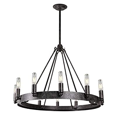 7Pandas 12-Light Indoor Retro Chandeliers E12, Antique Pendant Lighting, for Living Room Dining Room Farmhouse, Rustic Grey Metal - [Quality Material]: Metal with Rustic Grey finish for a vintage look on this round chandeliers; 2 year seller warranty [Dramatically Sized]: Measures 27.5 inches in diameter and 19.6 inches in height [Bulb Cap]: 12 x E12 Candle Light, Each 25W max (Bulb not included) - kitchen-dining-room-decor, kitchen-dining-room, chandeliers-lighting - 41z3IEZqYEL. SS400  -