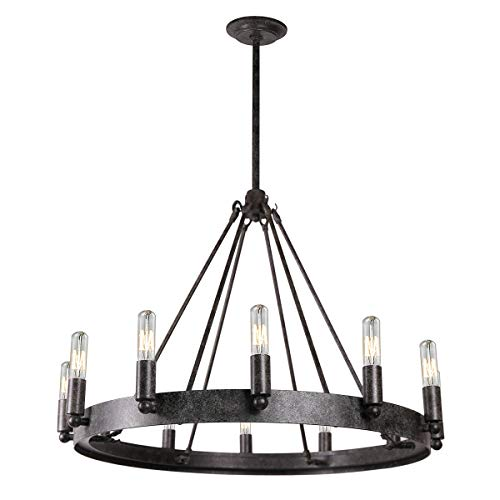 Round Twelve Light Chandelier - 7Pandas 12-Light Indoor Retro Chandeliers E12, Antique Pendant Lighting, for Living Room Dining Room Farmhouse, Rustic Grey Metal