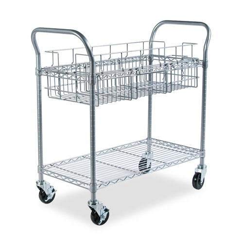Safco Products 5236GR Wire Mail Cart, Legal Size, Gray by Safco Products (Image #2)