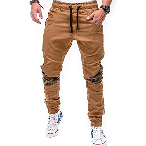 HTHJSCO Men Athletic Gym Fitness Sweatpants Joggers Pants with Cargo Pockets (Khaki, XXL) by HTHJSCO