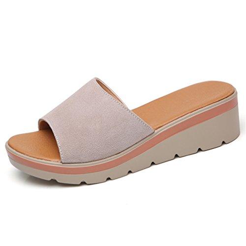 Beige Cuir Lumino Femmes Plate En Pantoufles Dames Toe Chaussures 806 Suède Pantoufles Glissières Forme Slip Round Femmes Chaussures On Tongs w66HgSq
