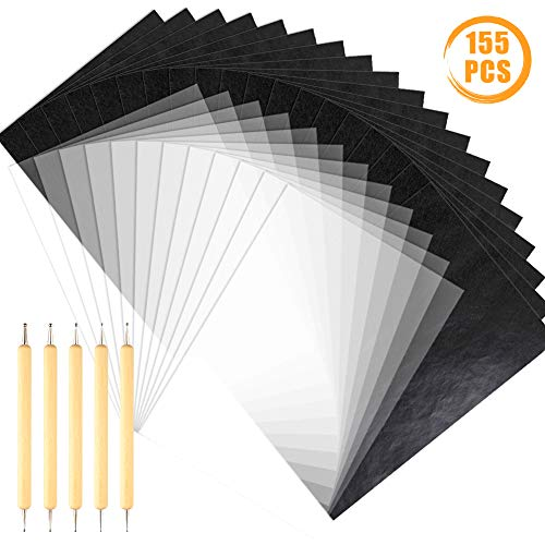 Quacoww 150 Sheets A4 Graphite Transfer Carbon Paper and Tracing Paper with 5 Pieces Double Ended Tracing Stylus Dotting Tools for Wood, Paper, Stone
