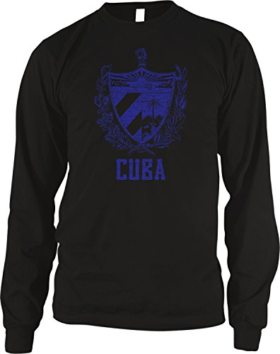 Amdesco Men's Cuban Coat of Arms, Coat of Arms of Cuba Thermal Shirt, Black Large