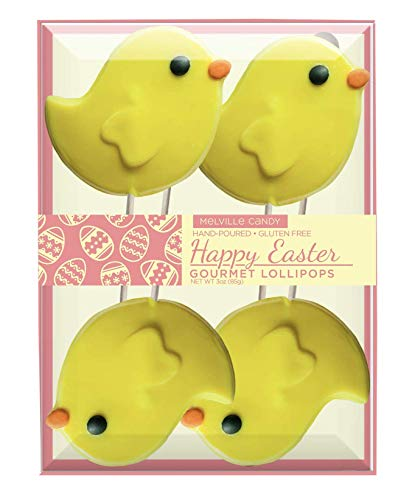 (Hand-poured Gourmet Easter Chicks Candy Lollipop, Gift Set by Melville Candy)