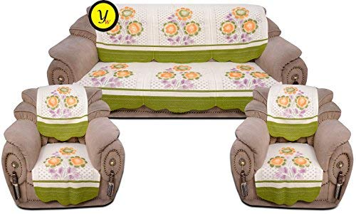Yellow Weavestm 6 Piece Sofa And Chair Cover Set , Color - Off White & Green