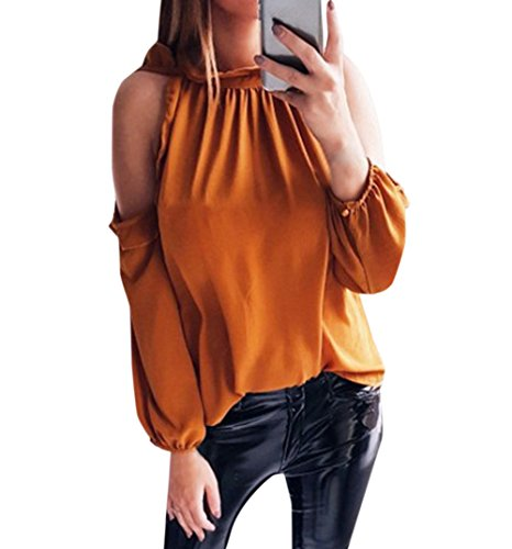 Sexy Printemps Longues Couleur paule Femmes Manches New Unie Blouses Orange T Chemisiers Tops Dnude Shirts Haut Automne et gxq5nSS8