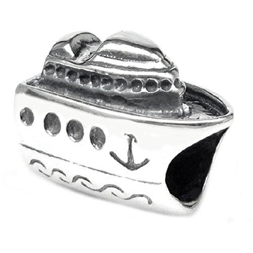 Queenberry Sterling Silver 'Nautical Cruise Ship' European Bead Charm
