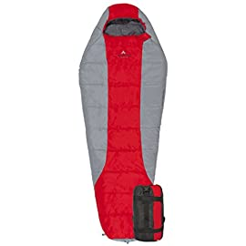 TETON Sports Tracker 5 Lightweight Mummy Sleeping Bag; Great for Hiking, Backpacking and Camping; Free Compression Sack 5 WARM AND COMFORTABLE: Mummy bag hood is designed specifically to eliminate the gaps to keep the warmth in around your head and face; Zipper draft tube and added insulation in the vaulted footbox provides much needed comfort and warmth NEVER ROLL YOUR SLEEPING BAG AGAIN: TETON provides a great compression sack for stuffing your sleeping bag; Start at the bottom and stuff the bag in, then tighten the heavy-duty straps LIGHTWEIGHT AND LOFTY: Lightweight for backpacking, hiking, and other outdoor activities; Innovative microfiber insulation offers more loft and first-rate compressibility without sacrificing quality or comfort