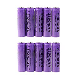 Eve.Ruan 10Packs Batteries High-Capacity 3.7V 2300mAh 14500 Lithium Rechargeable Battery for LED Lights/Toys/MP3/TV Remote Controls/Alarm Clocks/Flashlight Torch/not aa Battery