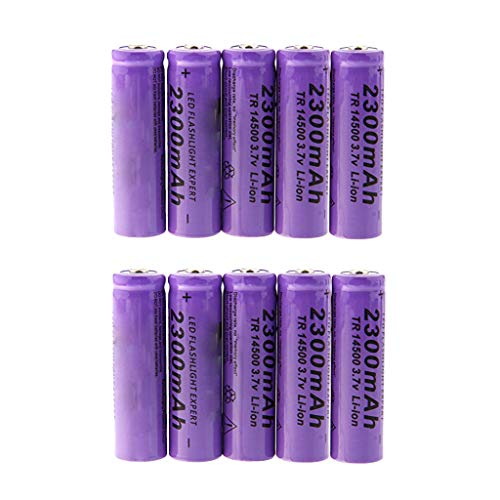 Sodoop 3.7V 2300 mAh Li-ion 14500 Batteries, Lithium Rechargeable Cylindrical Battery for Garden Lights, Solar Lamps, LED Flashlights,Power Tools Etc [ Pack of 10]