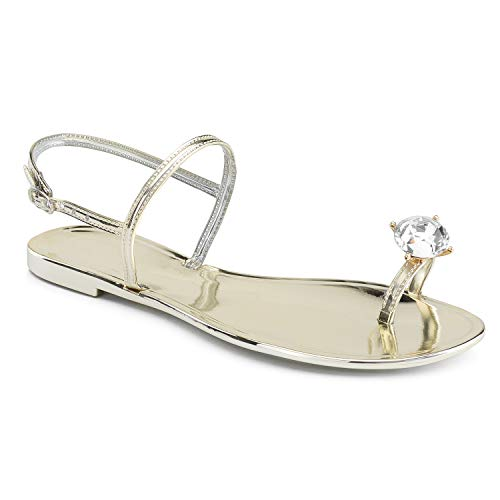 Gold Sexy Toe Ring - RF ROOM OF FASHION Slingback Rhinestone Toe Ring Mirror Flat Sandals Gold Size.9