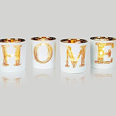 "lEPECQ Christmas Table Centerpieces Votive Candle Holders, Home Decor Votive Candle Holder Set, Christmas Decorative Tealight Candle Holders for Festival Day, Wedding,Home, Party - 【 HIGH QUALITY MATERIAL】- These glass candle holders is 2.9 'diameter and 3.14' height. And these are made of lead-free mercury glass, white matte exterior and golden metallic interior. (Set of 4) 【 ELEGANT and UNIQUE DESIGN】- These votive candle holders are designed with English letters H,O,M,E, when placed together the word ""HOME"" is completed. Designs to delivers a sense of dignity with natural freshness. 【 MULTIPLE APPLICATION】- These glass votive candle holders are suitable for your coffee table, bathroom decor and kitchen decor, farmhouse decor for the home. Making your living room decor or event decor shine in its glory when using it as your Christmas or Thanksgiving dinning table centerpieces. - living-room-decor, living-room, home-decor - 41z3KYskdXL. SS400  -"