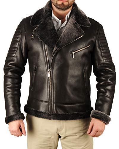 Men's Bomber Shearling Black Leather Jacket Genuine RAF B3 Sheepskin (Black-Model3, S)