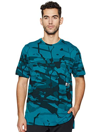 New Balance Men's Printed R.w.t. Heather Tech Short Sleeve Tee, Dark Neptune, XX-Large