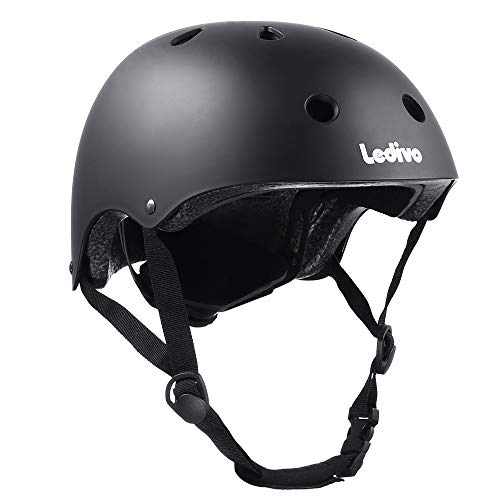 Ledivo Kids Bike Helmet Toddler Helmet Adjustable Kids Helmet for Ages 3-8 Years Boys Girls, Multi-Sport Safety Cycling Skating Scooter Helmet, CSPC Certified (Black)