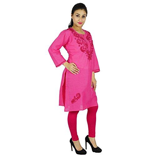 Diseñador Chikan las mujeres bordadas indias étnico vestido de la túnica de algodón Casual Kurti Rosado