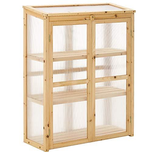 Cold Frame Portable Cold Frame, Foldable Top Sturdy Planter Protection, Portable Wooden Greenhouse with Natural Fir Wood 32.28 x13.39 x42.13 inch
