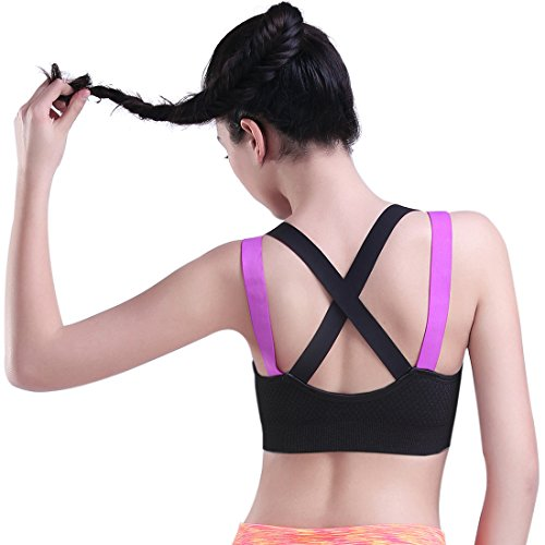 HeartFor Racerback Sports Bras for Women - Padded High Impact Workout ,Pack of 2 (38d Up Sports Push Bra)