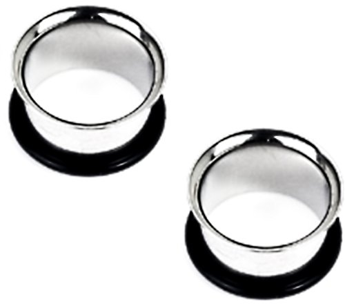 """Ear Gauges - Pair of 7/16"""" 316L Surgical Steel Single Flared Flesh Tubes Tunnel Plugs with O-Ring"""