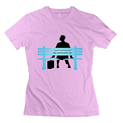 TGRJ Women's Tees - Classic Forrest Gump Bench Pink Size XL