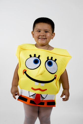 Spongebob Kids Child Yellow Halloween Costume with Shoe Cover Size 4-6 Years Old