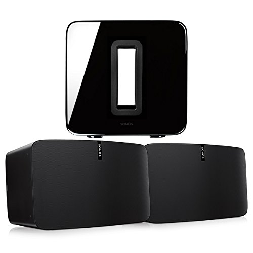 Sonos PLAY:5 (Black, Pair) Multi-Room Digital Music System Bundle & Sonos Wireless SUB (Black)