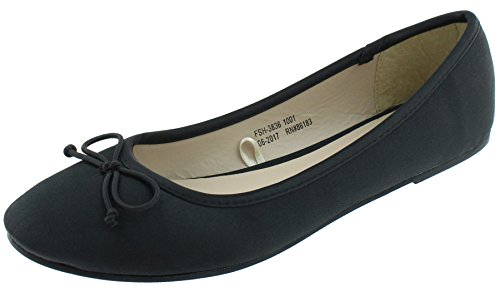Capelli New York Ladies Satin Binding Fashion Flats Black (Satin Womens Flat)