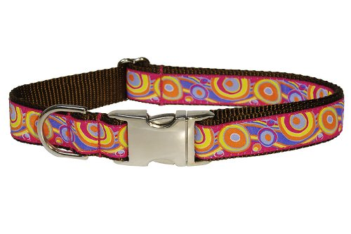 Sassy Dog Wear 18-28-Inch Pink/Orange Circles and Waves Dog Collar, Large, My Pet Supplies