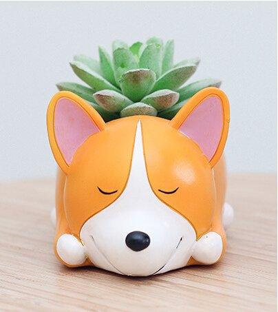 Cuteforyou Cute Animal Shaped Cartoon Home Decoration Succulent Vase Flower Pots (Corgi Dog (Style C))
