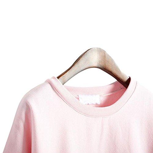 Felpa L Cappotto Colore Girocollo lunghe Giacca Donna rosa Calda Maniche Fuyingda Solido wpqO8Ana