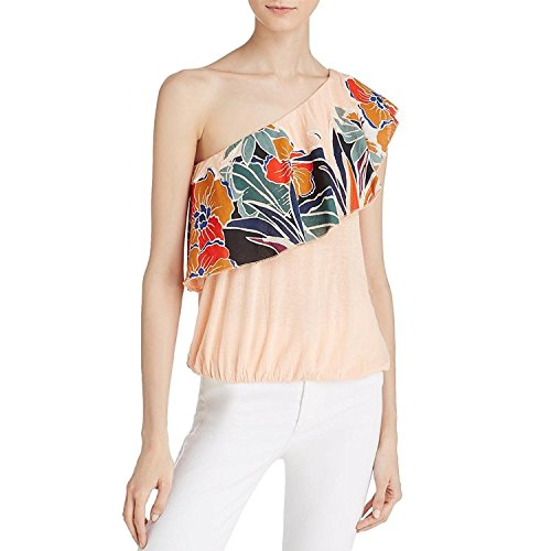 Free People Womens Annka One Shoulder Floral Casual Top Pink Xs