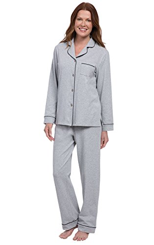 PajamaGram Womens PJs Cotton Jersey - Soft Pajamas for Women, Grey, XS, 2-4 2 Piece Treasure Chest