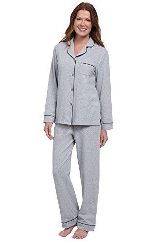 PajamaGram Womens PJs Cotton Jersey - Soft Pajamas for Women, Grey, XS, 2-4