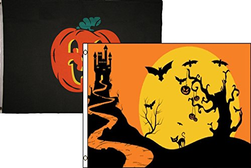 ALBATROS 3 ft x 5 ft Happy Halloween 2 Pack Flag Set Combo #53 Banner Grommets for Home and Parades, Official Party, All Weather Indoors -