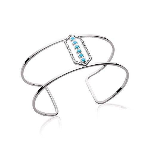 Bracelet Manchette en Argent 925/000 Rhodié et Pierre Turquoise - Ouvert Ajouré