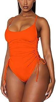 Viottiset Women's Ruched High Cut One Piece Swimsuit Tummy Control Monokini Bi