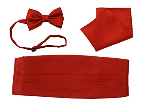 Cummerbund Set Red (Tuxedos Girdle Cummerbund Bow Tie Pocket Square Handkerchief Set Salutto Formal Solid Color Red)