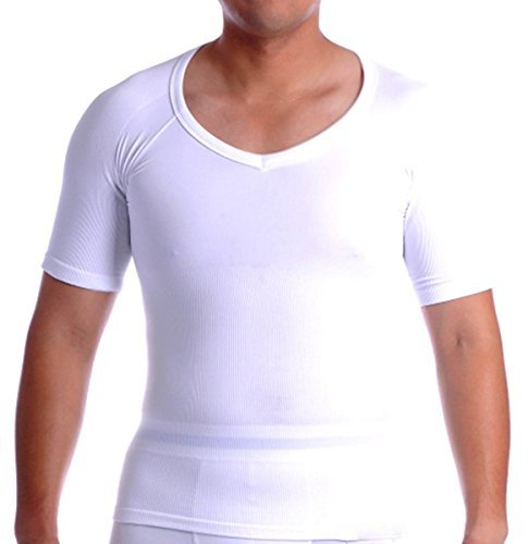 Spanx COTTON Compression V Neck Undershirt T-Shirt, Mens Shapewear short sleeve (XL, Weiß)