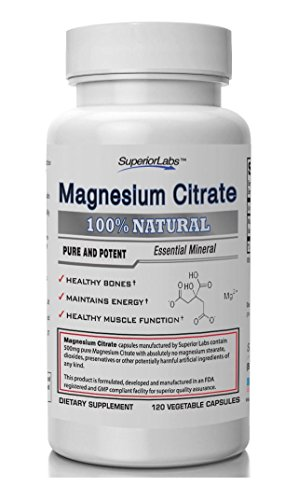 1 Magnesium Citrate - No Magnesium Stearate - 500mg 120 Vegetable Caps - Made In USA 100% Money Back Guarantee