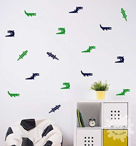 Alligator Wall Decal / 24 Alligators wall Decal / Alligator Sticker / modern wall decal