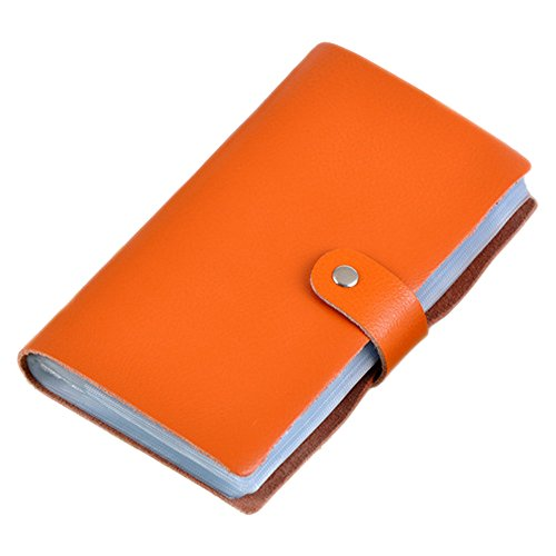Boshiho Leather Credit Card Holder Business Card Case Book Style 90 Count Name ID Card Holder Book (Orange) (Gift Card Grommet)