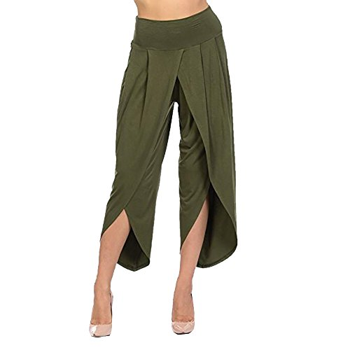 QueenMMWomen's High Waist Layered Flowy Casual Yoga Pants Solid Wide Leg Loose Pants Palazzo Pants Green ()