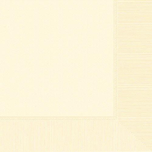Durable 3-Ply Plain Dinner Napkins Party Tableware, Vanilla Crème, Paper, 8