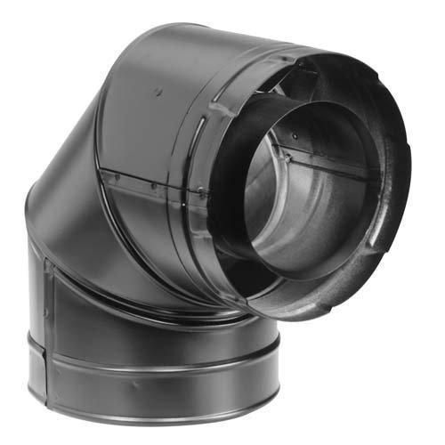 Simpson Duravent 46DVA-E90B 4x7\' Direct Vent Black 90 Degree Elbow M&G DuraVent