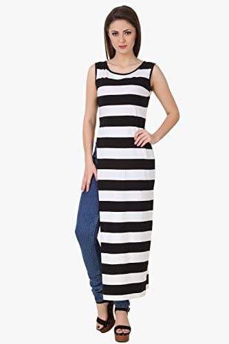 8f3786bf8ee TEXCO Black and White Striped High Slit Women Maxi Dress: Amazon.in:  Clothing & Accessories