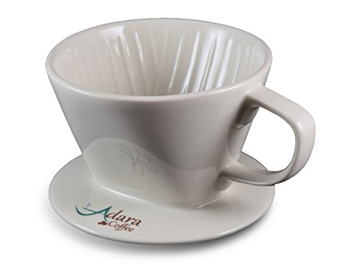 Adara Coffee Ceramic Pour Over Coffee Dripper | Extra Wide Base Fits Oversized Mugs | For Use with Standard #2 Coffee Filters | White (Mug Ceramic Base Wide Coffee)